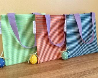 Lined Mini Tote Bag - Little Fabric Bag, Gift for Girls, Mini Shopping Bag, Book Bag, Reusable Gift Bag, Small Tote, Handmade Cotton Bag