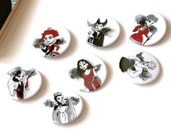 Set of 7 badges of the bad girls