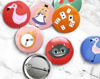 Set of 7 badges, Alice in Wonderland