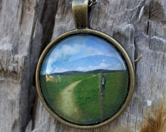 Appalachian Trail Photo Pendant of White Blaze Post