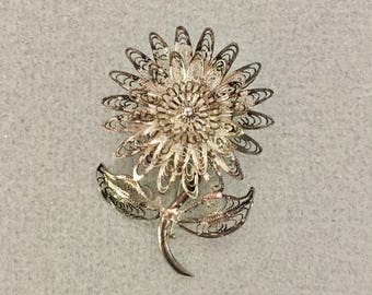 1940s  Sterling Silver Filigree Cannetille Sunflower  Brooch / Pin