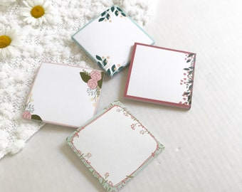 Sticky Note Pad | Post It Notes | Floral | 3 x 3 | To do, grocery list, reminder, just because, gift, Mother's Day