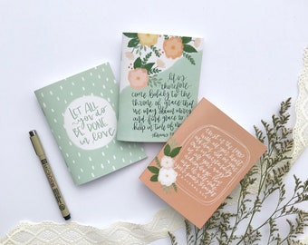 Set of 3 Mini Journals | Trust in the Lord, Let all you do, Come boldly | Mini Notebook | Saddle Stitch Bound | Lined | Women | Mother's Day