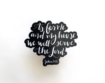 Magnet | As For Me and My House we will serve the Lord | christian art | hand lettering | fridge magnet | christian magnet |