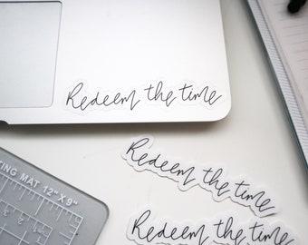 Vinyl Sticker | Redeem the time | clear back | christian | Laptop Sticker | Hydroflask sticker