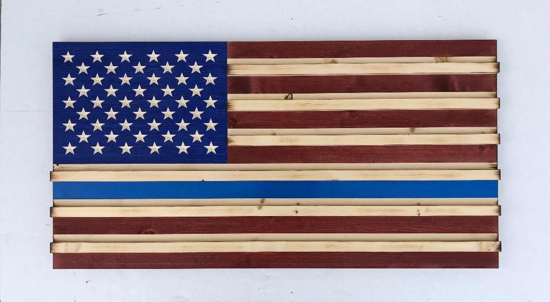 Traditional American Wood Flag (Thin Blue Line) Challenge