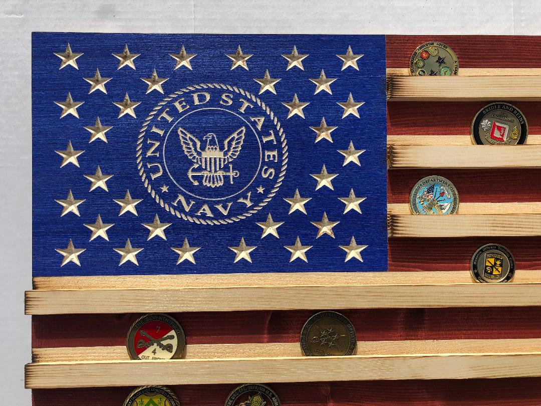 Military Challenge Coin Display Rack US Wood Flag for Navy