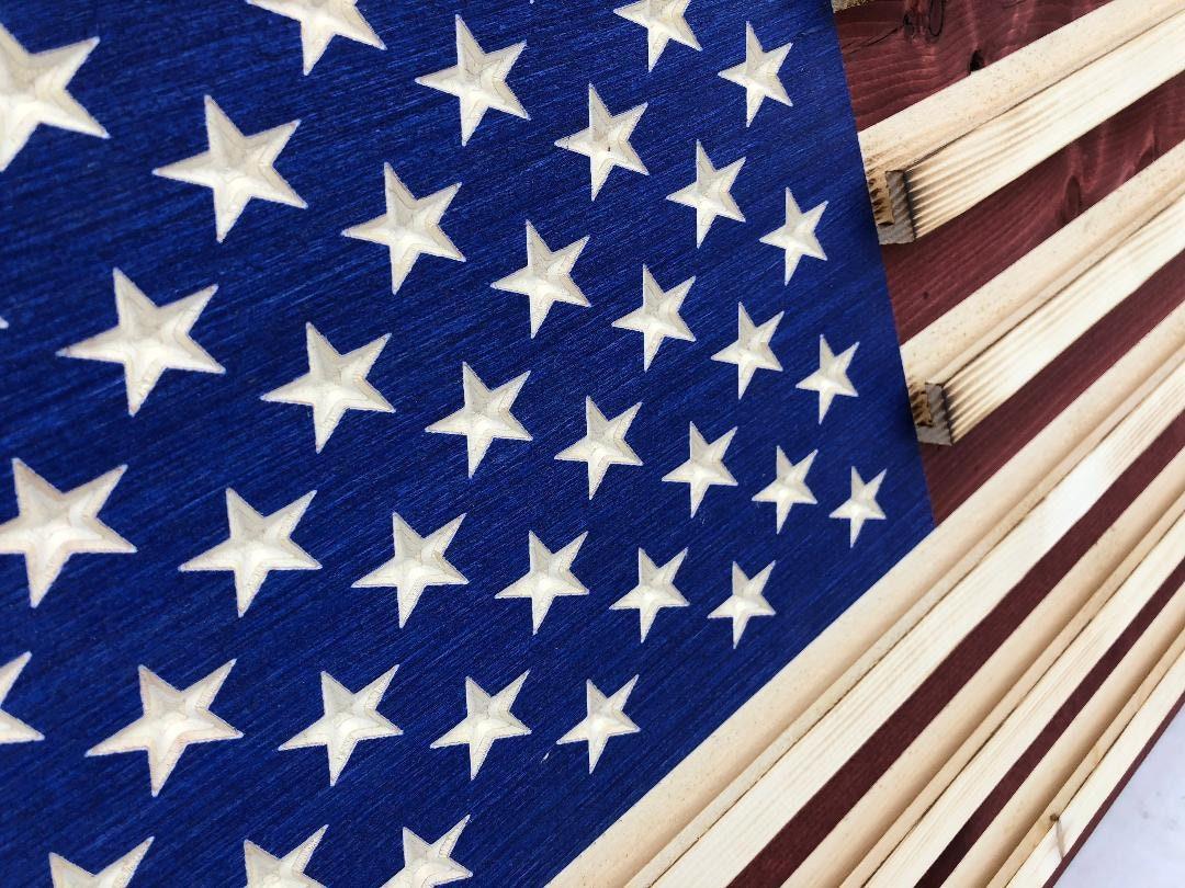 Military Challenge Coin Display Rack US Wood Flag for