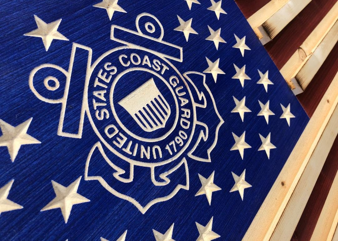 Military Challenge Coin Display Rack US Wood Flag for Coast Guard