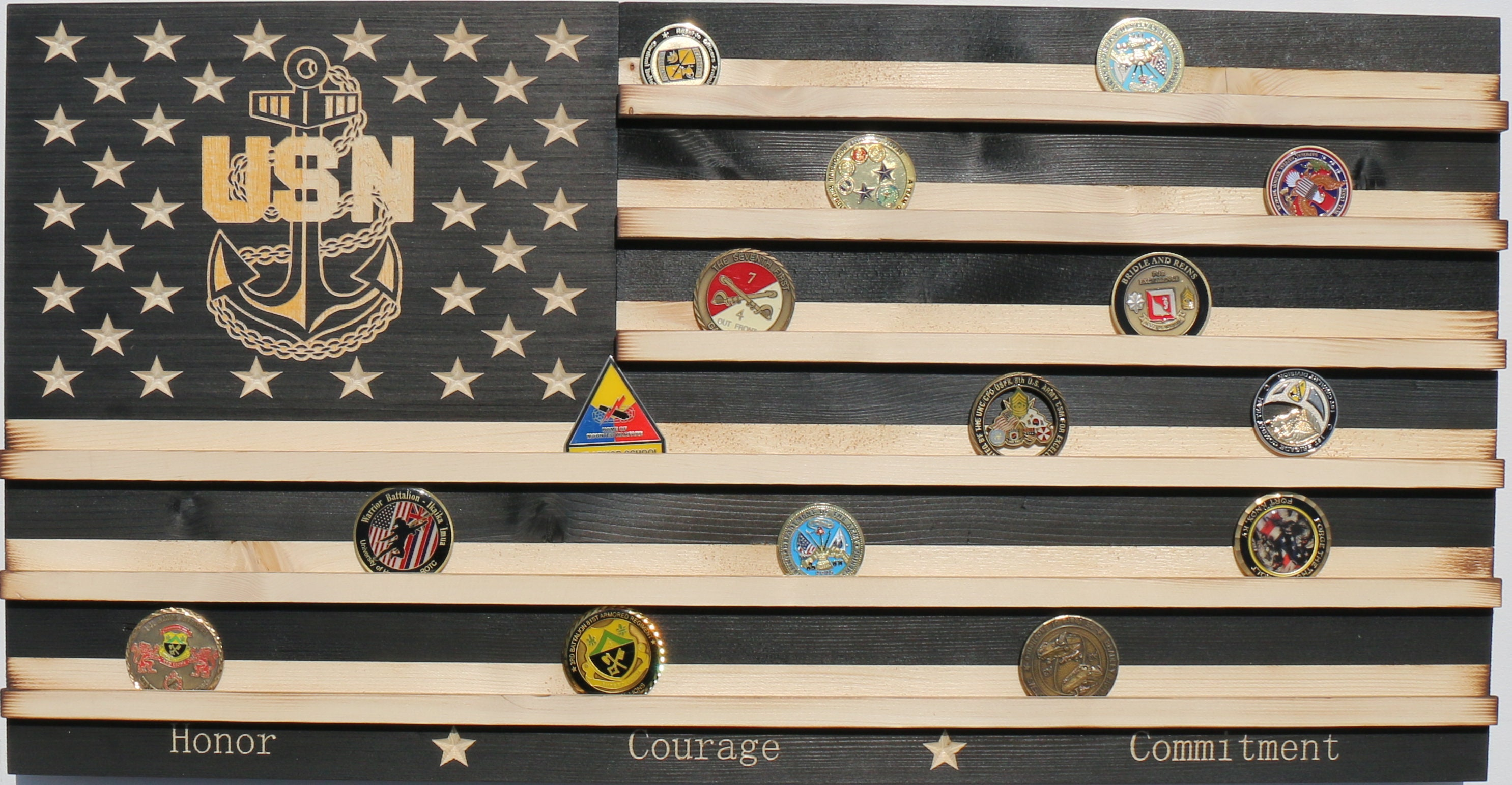 Black and white stained Military Challenge Coin Display Rack