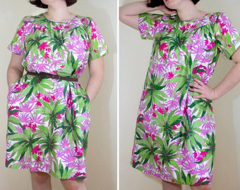 90f1fb02981ee 1960s Sears Tropical Print Cotton Dress    Medium   Large