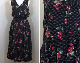 0d22b77461 1990s Cherry Print Midi Jumper Dress    Small Medium