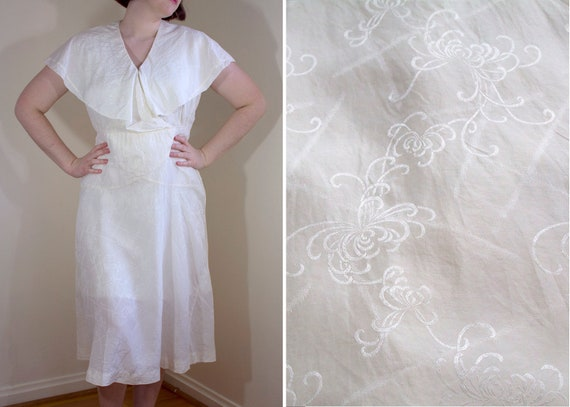 1930s Cream Silk Dress with Attached Capelet // Me