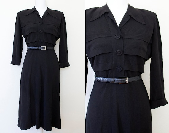 1940s Black Rayon Shirtwaist Dress // Large