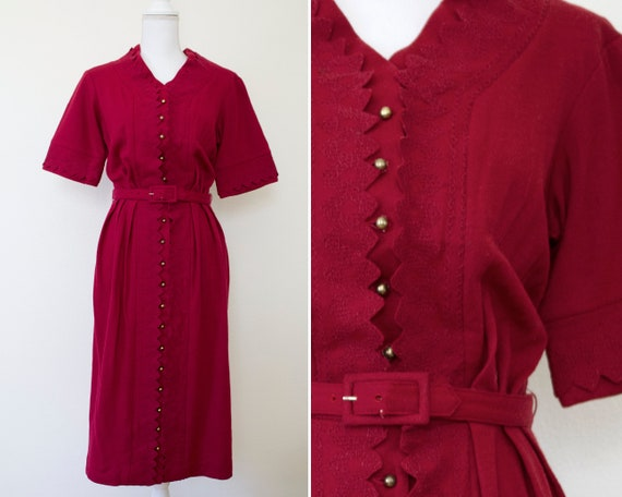 1950s Carlye Embroidered Button-Front Midi Wiggle