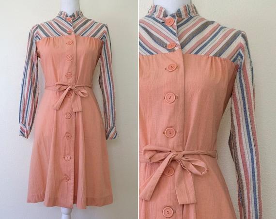 1970s Textured Cotton/Polyester Shirtdress // Medi