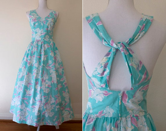 1980s Lanz Floral Cotton Midi Dress // Small / Med