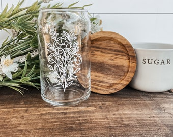 Floral Beer Can Glass, Floral Iced Coffee Glass, Iced Coffee, Beer Shaped Glass, Beer Glass, Floral Drinkware, Large Floral Design