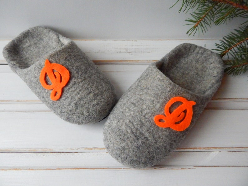df27eada581ca Felted women's gray slippers with a monogrammed. Felt personalized house  shoes for women. Eco friendly clogs for Mom.
