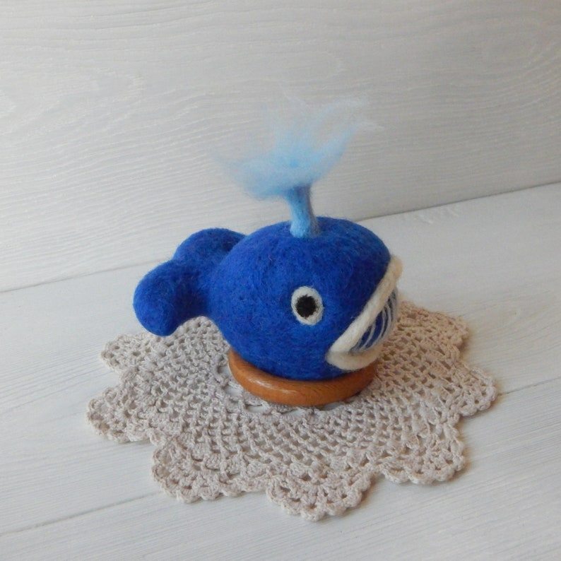 Cushion for needles gift for tailor sewer seamstress Felt pin cushion handmade Felted blue whale wool pincushion