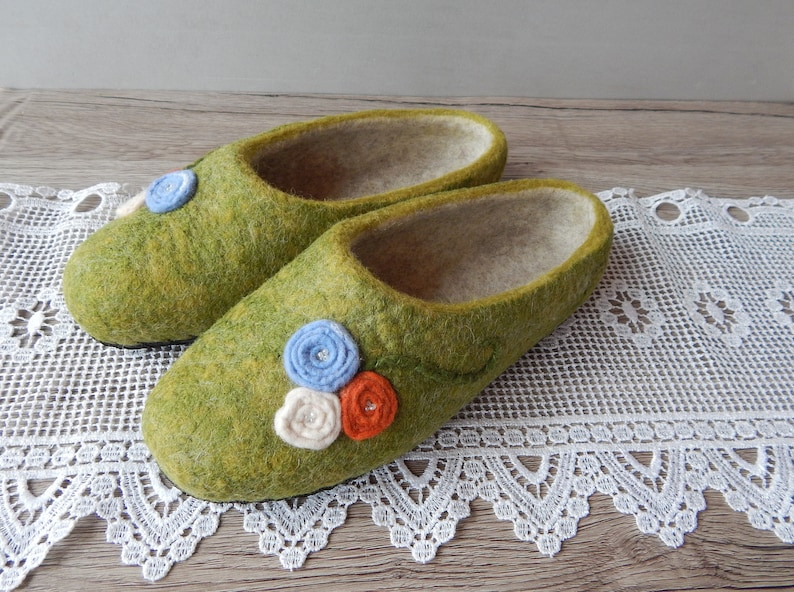 08e19f821e8ef Felted green boiled wool slippers, Eco friendly shoes for women, Homewear  woolen clogs, Ready to ship Size 5 US