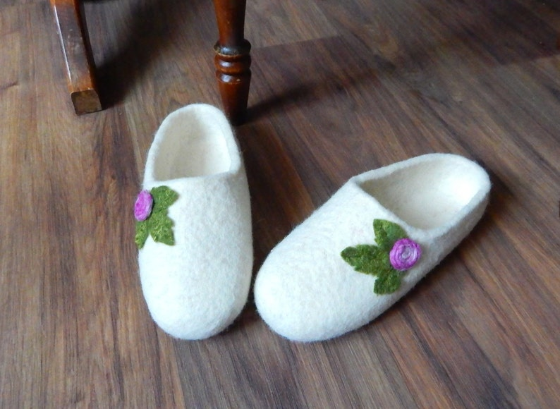 9401db559f3fa Felted slippers for women House shoes with rose Felt slippers flower  women's Boiled wool warm clogs Eco friendly cozy uniq gift for her