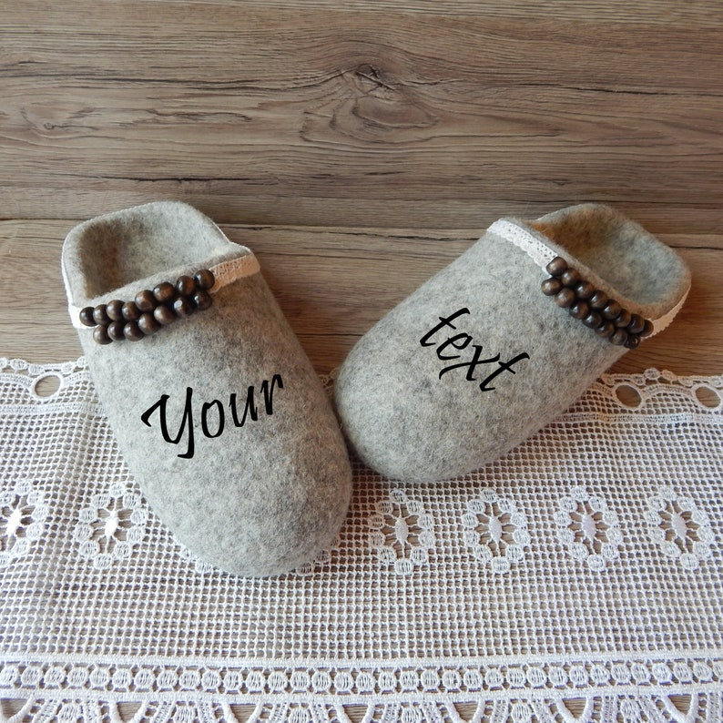 f3778cdd17d86 Felted women's slippers with a monogrammed. Felt personalized house shoes  for women. Eco friendly clogs for Mom.