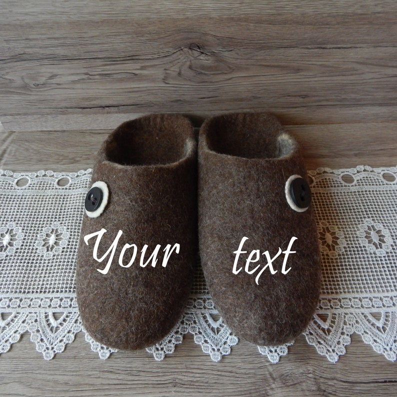 85d3770a5e1e8 Felted men's brown monogrammed house slippers, Felt personalized home shoes  for men, Eco friendly clogs, Christmas wool gift
