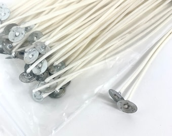 Pre Waxed Candle Wicks with Sustainers Long Tabbed Candle Making 100 120 150 mm