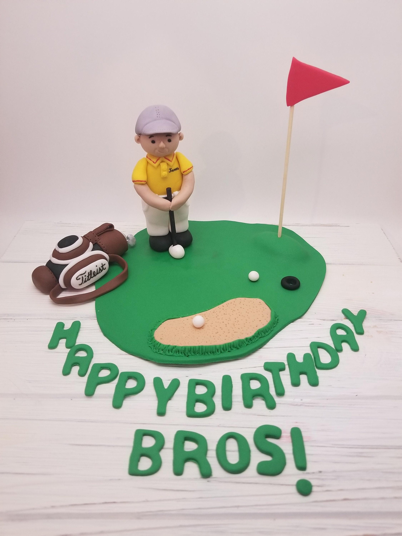 Golf Birthday Cake Topper Golfer cake topper Fondant Golf | Etsy