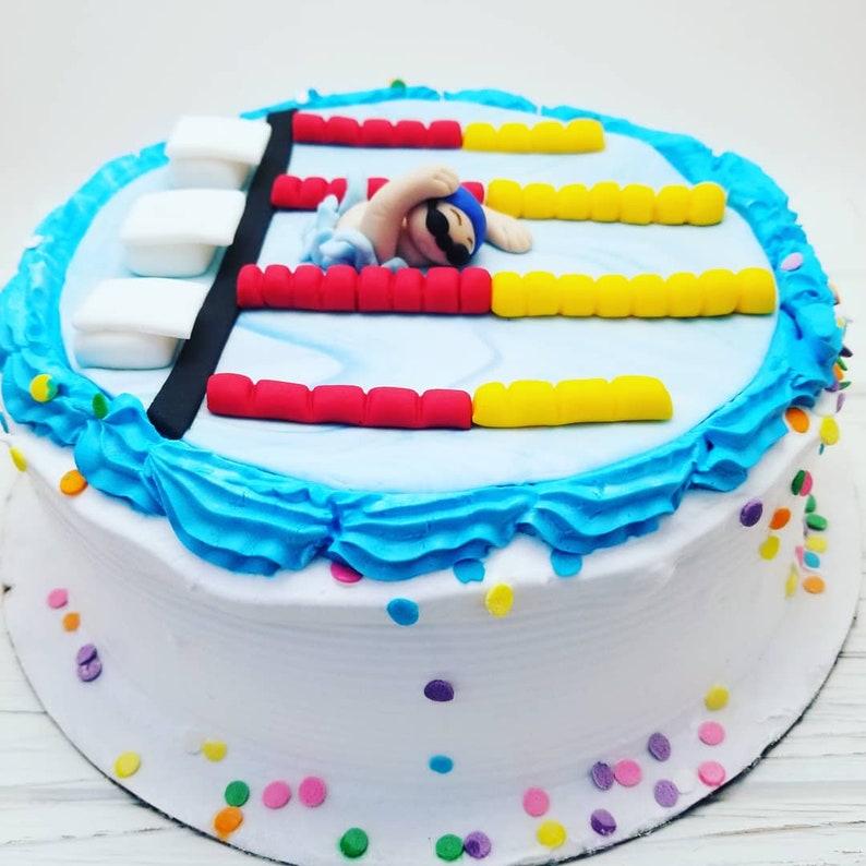 Amazing Swimmer Birthday Cake Decoration Swimmer Party Fondant Etsy Personalised Birthday Cards Vishlily Jamesorg