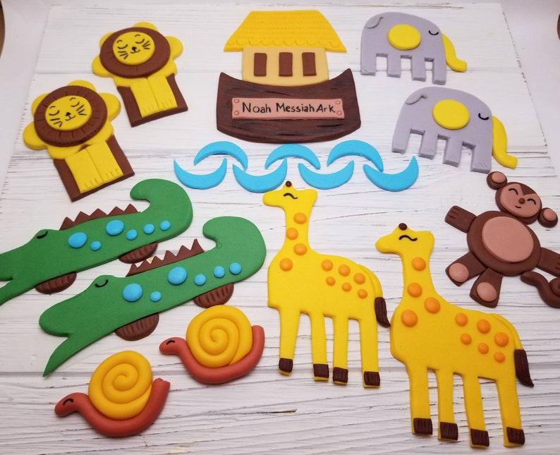 Animal cake toppers, Noah's Ark inspired cake toppers, Noah's Ark cake,  Noah's Ark cake decorations, fondant Noah's Ark cake toppers