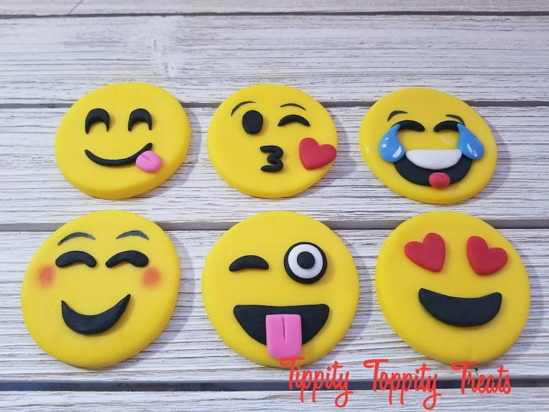 Emoji Fondant Cupcake Or Cake Toppers Birthday Party Decoration