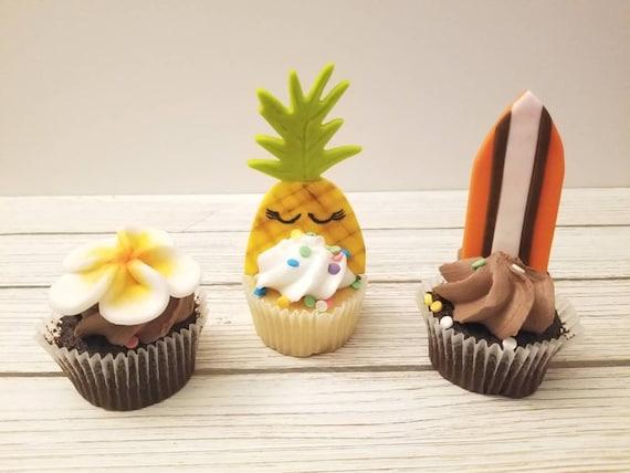 Luau Birthday Cupcake Toppers Fondant
