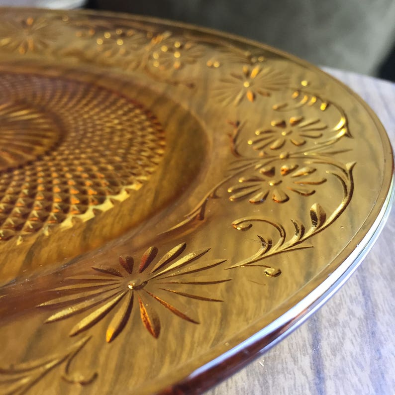 Depression Glass Daisy Amber Indiana Glass 3 Luncheon Plates