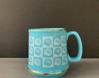 Vintage Powder Blue Gold United Way Coffee Mug Retro Diner Cup