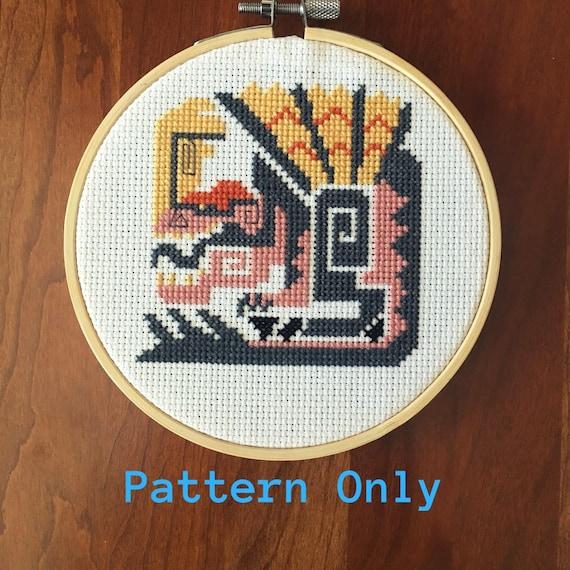 Monster Hunter World Anjanath Icon Cross Stitch Pattern Pdf Etsy