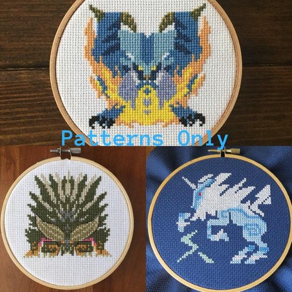 Elder Dragon Monster Hunter Pdf Download Cross Stitch Pattern Kirin Nergigante Lunastra Video Game Wall Art Gifts For Gamers Pixel Art