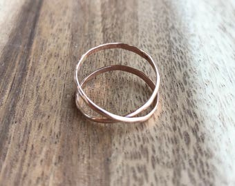 Small Rose Gold Wrap Ring, Criss-Cross Ring, Rose Gold Stacking Ring, Stacking Ring, Rose Gold Stackable Ring, Rose Gold Ring