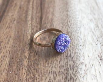 Purple Druzy Ring, 10 mm Gold Druzy Ring, Druzy Ring, Purple Druzy, Purple Drusy, Druzy Jewelry