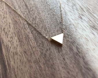Gold Triangle Necklace, Gold Layering Necklace, Delicate Gold Necklace, Delicate Gold Triangle Necklace