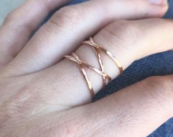 Large Rose Gold Wrap Ring, Rose Gold Wrap Ring, Rose Gold Ring, Delicate Rose Gold Ring, Gold Jewelry