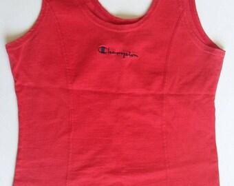 Vintage 1990s Women's Champion Tank Top Red Size Medium