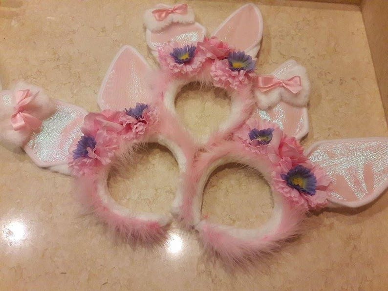 White /& Pink Faux Fur Bunny Ears Hairband