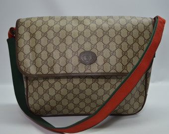 95811c8e822 Gucci Rare Vintage 80 s Monogram Large Flap Shoulder Bag Red Green Strap  With Detachable Pouch