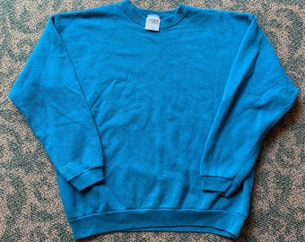 9e2e0cea0862 Vintage 90s Tultex Blank Turquoise Pull Over Size Large Made in USA