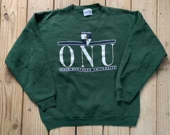 9b482b61457b Vintage 90s ONU Ohio Northern University Green Worn Pull Over Size Large  Made in USA