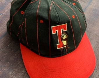 12a507fddbf2a6 Vintage 90s Taz Tasmanian Devil Looney Tunes Red & Black Pinstripe Hat