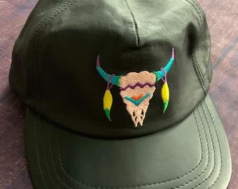 77371bd1947 Vintage 80s Embroidered Bison Skull All Leather Hat cap StrapBack