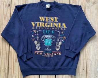 f409f59b49be Vintage 90s West Virginia Mountaineers Football New Orleans Saxophone Navy Pull  Over Tultex Crew Neck Size XL